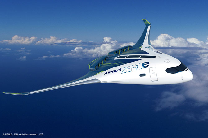 airbus zeroe blended wing body concept