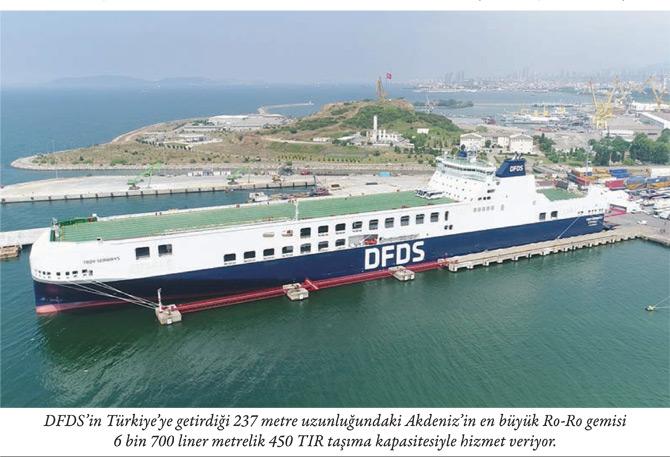DFDS'nin Türkiye'ye getirdiği 237 metre uzunluğundaki Akdeniz'in en büyük Ro-Ro gemisi 6 bin 700 liner metrelik 450 TIR taşıma kapasitesiyle hizmet veriyor.